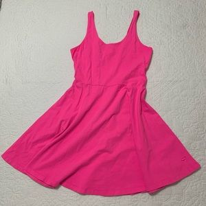 A-line neon pink cotton dress